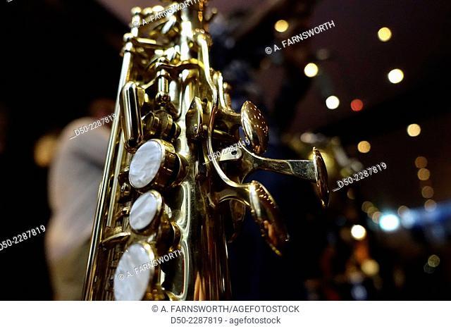 Saxophone at a concert, Stockholm, Sweden
