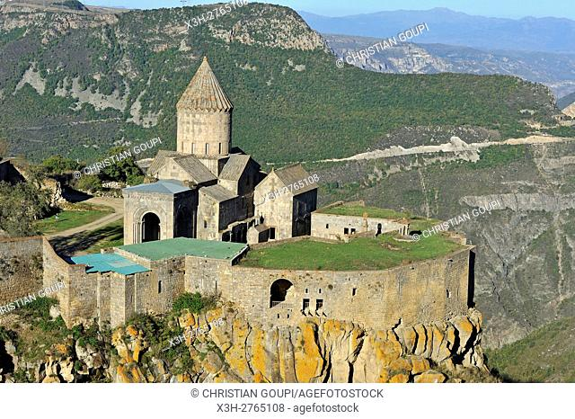Tatev monastery standing on the edge of a deep gorge of the Vorotan River, Syunik Province in southeastern Armenia, Eurasia