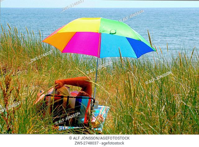 Sunshade on the beach in Ystad, Sweden
