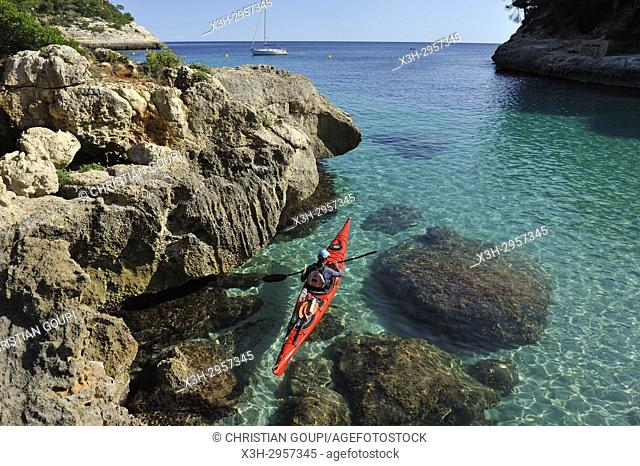 kayak in Mitjana creek near Cala Galdana, South Coast of Menorca, Balearic Islands, Spain, Europe