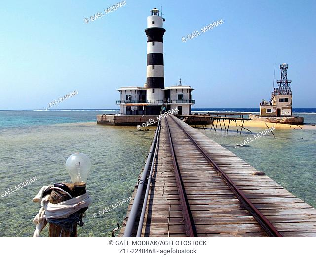 Daedalus lighthouse in the middle of red sea, famous destination for divers in Egypt.