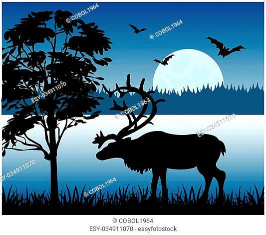 Silhouette of the deer on background of the wild nature