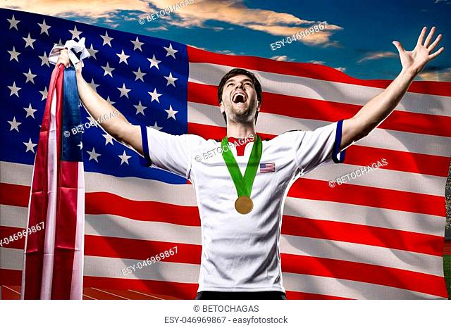 American Athlete Winning a golden medal in front of a american flag