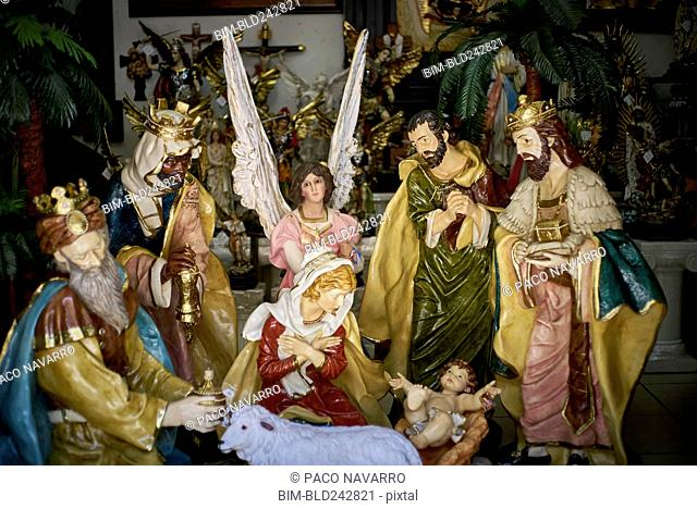 Statues in nativity scene