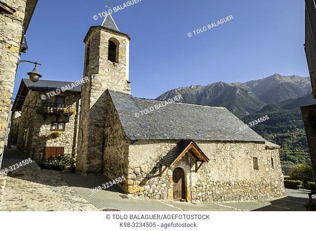 Iglesia parroquial del siglo XVIII, Aneto ,municipio de Montanuy, Ribagorza, provincia de Huesca, Aragón, cordillera de los Pirineos, Spain