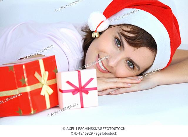 woman with xmas gift