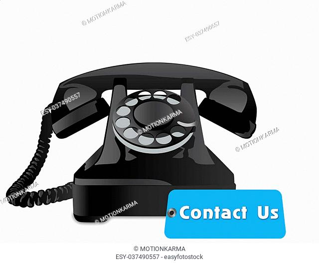 contact us tag with old telephone