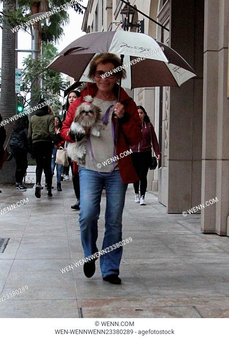 Judge Judy shelters under an umbrella while out walking her dog in Beverly Hills Featuring: Judge Judy, Judith Sheindlin Where: Los Angeles, California