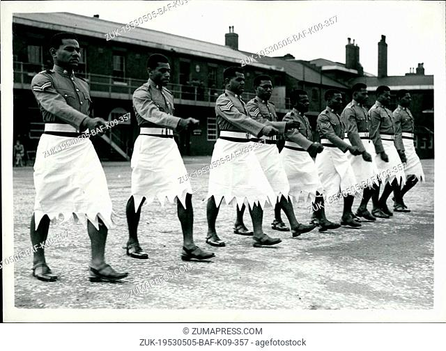 May 05, 1953 - Colonial Coronation Contingent At Woolwich: Members of the Colonial Coronation Contingent which will take part in the Coronation procession