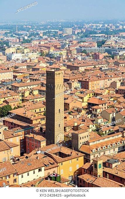 Bologna, Emilia-Romagna, Italy. View from Torre Asinelli to Torre Prendiparte and historic centre of the city