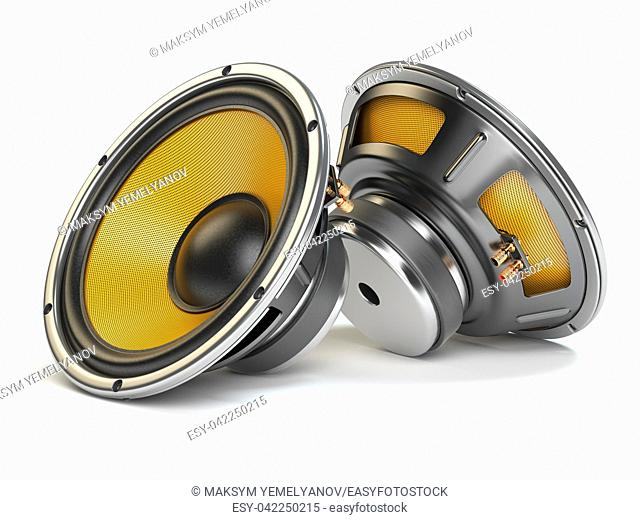 Loudspeakers isolated on white background. 3d illustration