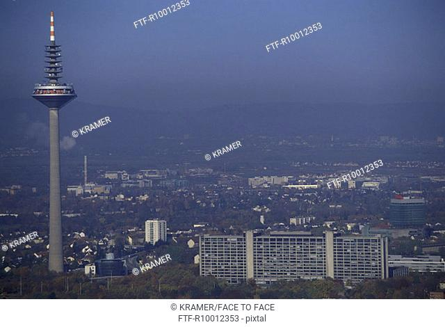 Townscape with television tower, Frankfurt, Germany
