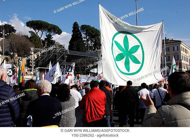 28th February 2015 The Italian Northern League party rally against the Renzi government in piazza del Popolo quare in Rome Italy