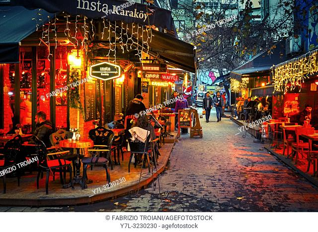 Nightlife in the Tophane district of Istanbul, Turkey