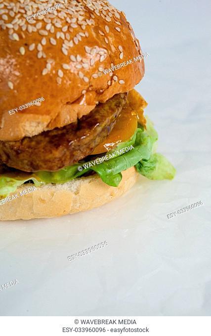 Hamburger on white paper