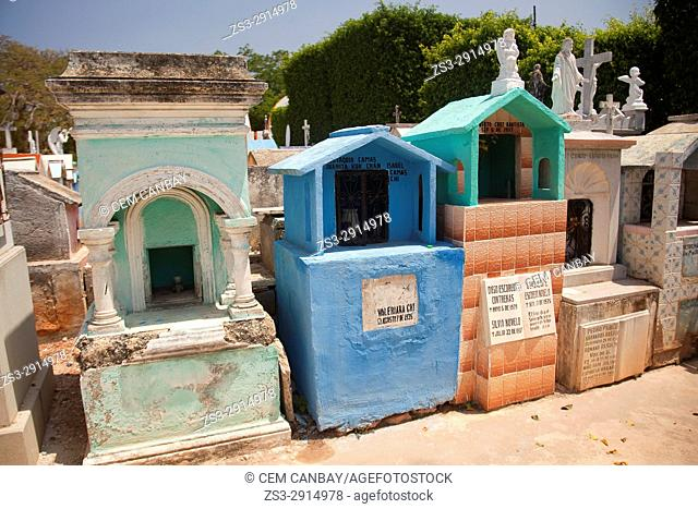 Scene from the cemetery in the town center, Oxcutzcab, Convent Route, Yucatan Province, Mexico, Central America