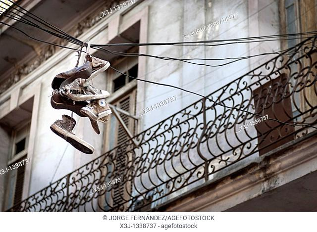 Shoes hanging from the street wires, La Habana, Cuba, Caribbean