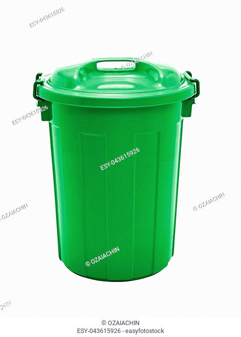 A green plastic garbage bin isolated over white background
