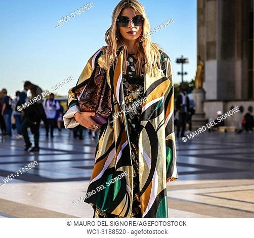 PARIS, France- September 26 2018: Women on the street during the Paris Fashion Week