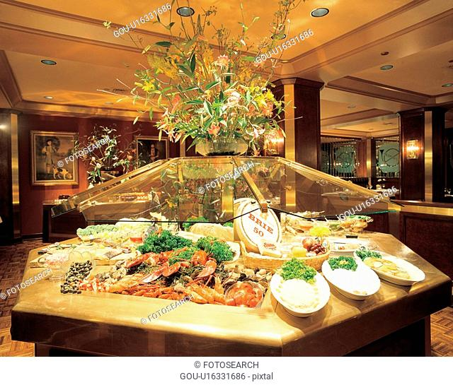 meal, construction, buffet, restaurant, interior, film