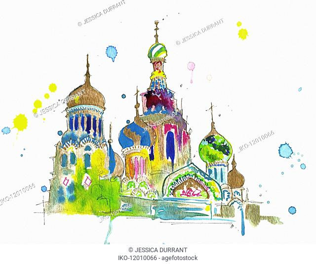 Watercolor painting of Saint Basil's Cathedral, Moscow, Russia