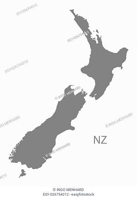 New Zealand Map grey