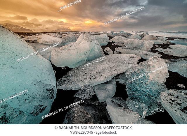 Icebergs come from the Jokulsarlon Glacial Lagoon, Breidamerkurjokull Glacier, Vatnajokull Ice Cap, Iceland