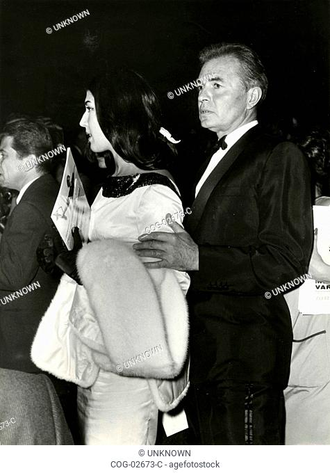 American actor James Mason with Patrizia De Blanck at the premiere of the Russian ballet choreographer Moisseiev, Rome, Italy