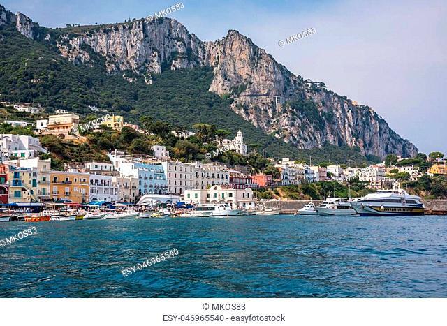 Boats moored at Marina Grande on famous italian island of Capri
