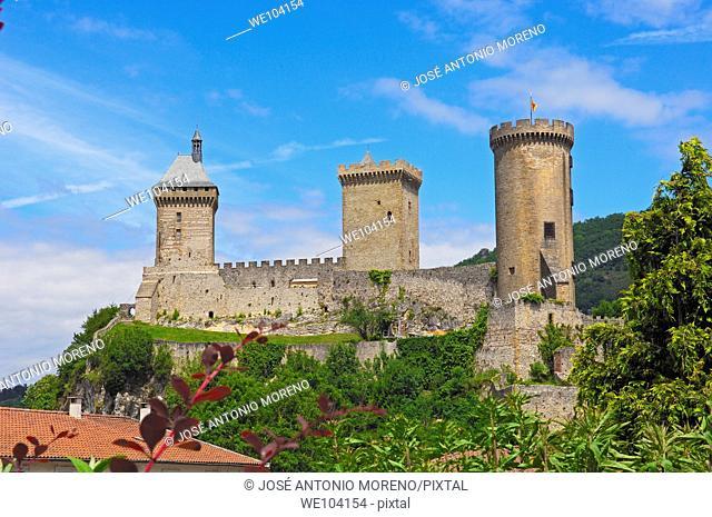 Chateau de Foix castle, Foix, Cathar Country, Ariege, Midi Pyrenees, France