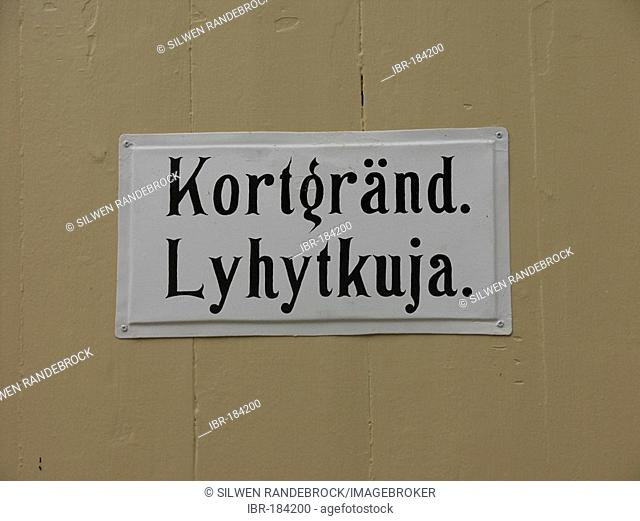 Old town of Lovisa street sign in finnish and swedish Finland