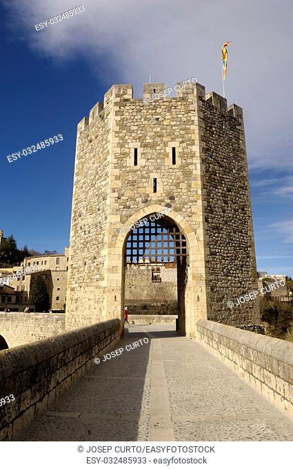 medieval bridge of Besalú in La Garrotxa, Girona, Spain