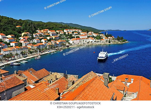 west part of Korcula old town seen from the bell tower of the St. Mark's Cathedral, Korcula island, Croatia, Southeast Europe