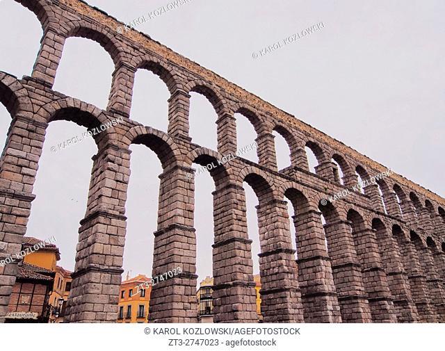 Spain, Castile and Leon, Segovia, Old Town, View of The Roman Aqueduct of Segovia.