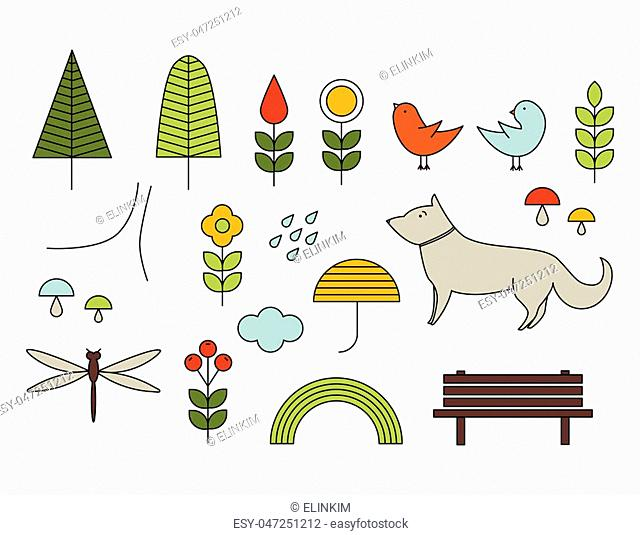Walking on the open air. Line vector icons in Scandinavian style. Forest, park, trees, dog, birds, flowers, mushrooms, bench, clouds, umbrella, dragonfly