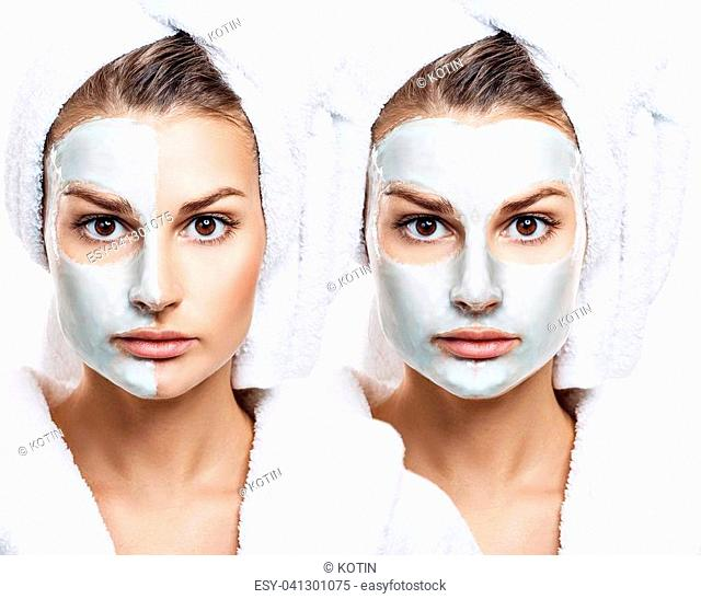 Beautiful woman with mask on her face over gray background. Skincare concept