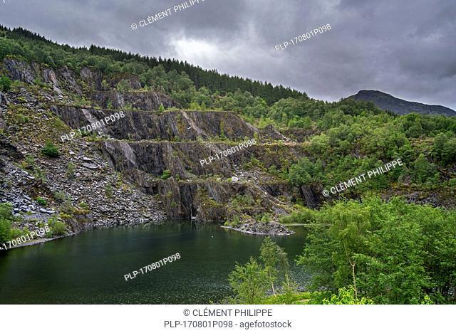 Abandoned Ballachulish slate quarry showing terraces and lake in Lochaber, Highland, Scotland, UK