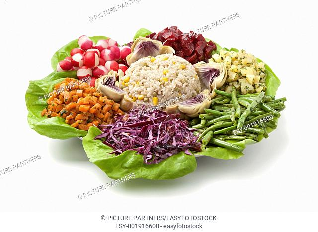 Moroccan dinner salad on white background