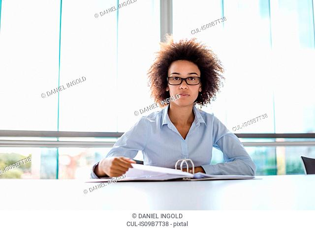 Portrait of young businesswoman at desk with paperwork
