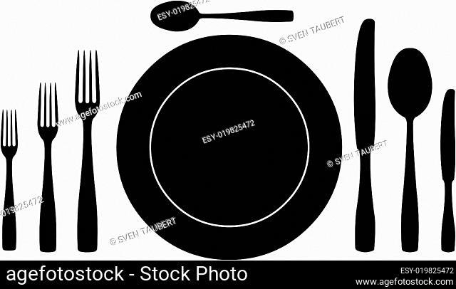 Besteck mit Teller