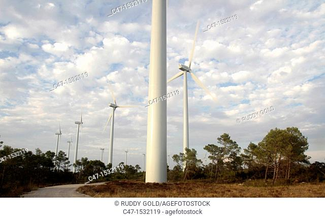 Spain, Catalonia, Lleida province, Tarres, Windmills at the Pla del Cintet