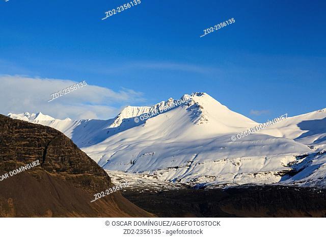 Snowy landscape near Hofn. Vatnajokull National Park. Southern Iceland