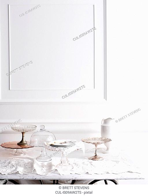 Selection of cakestands on traditional tea table