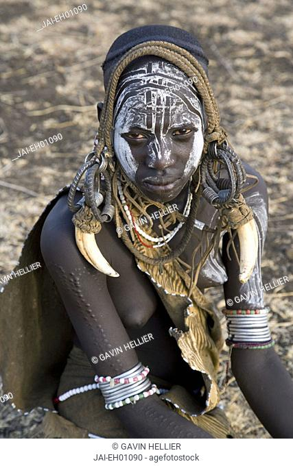 Mursi girl, Mursi Hills, Mago National Park, Lower Omo Valley, Ethiopia