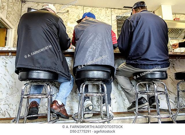 NORFOLK, Va. Doug's Hot Dogs. Men at counter