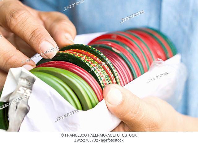 Indian bangles multi colors. Jaipur, Rajasthan, India