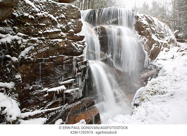 Franconia Notch State Park - Avalanche Falls in Lincoln, New Hampshire USA  This waterfall is located in the Flume Gorge