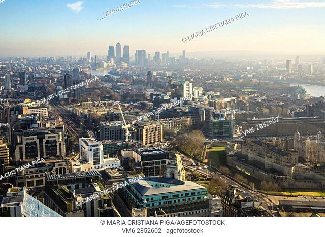 aerial view of London with Canary Wharf in the background