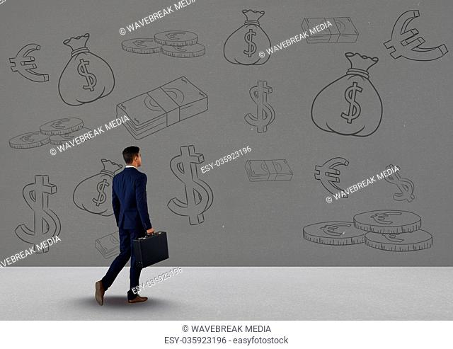 businessman in front of money on wall