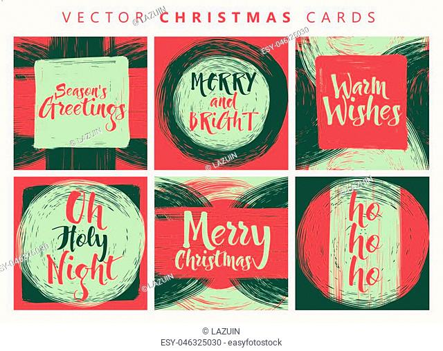 Hand drawn Christmas holiday set collection with calligraphys